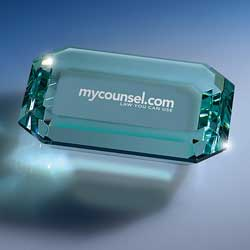 Jade Crystal Faceted Paperweight