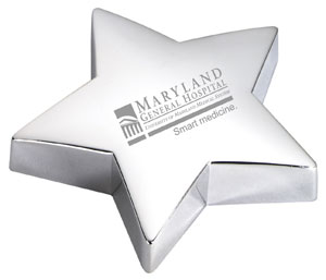 Silver star paperweight award